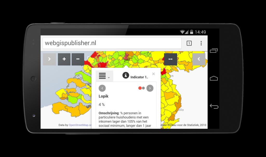 WebGIS Publisher op smartphone
