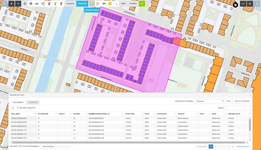 almere in kaart : adresselectie